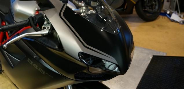 バイク ガラスコーティング つや消し ドカティ 848EVO ブラストS施工